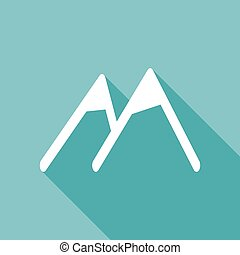 Mountain icon with a long shadow