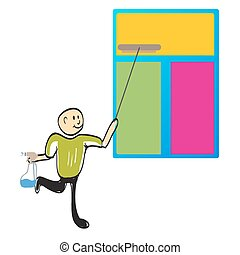cleaner cleaning a window illustration