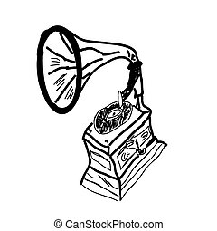 sketch illustration of phonograph