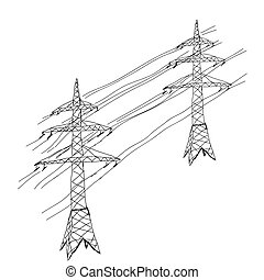 Power lines. Hand drawn sketch illustration