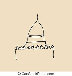 Hand drawn images of islamic worship places for holiday design