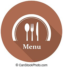 Knife, Fork and Spoon Icons set in flat style with long shadows