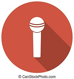 microphone,flat style with long shadows