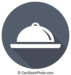 Restaurant cloche icon with long shadow