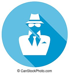 Man in suit Secret service agent icon a long shadow
