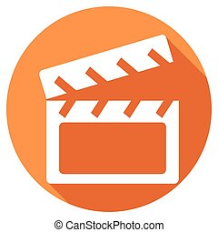 Modern clapper board icon with long shadow effect