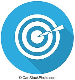 arrow target on white circle with a long shadow