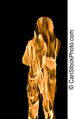 Woman with arms crossed on Fire in Flames