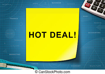 Hot deal word on yellow note - Hot deal text on yellow note...