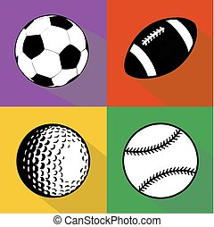 Black and white sport balls vector set - A vector set of...