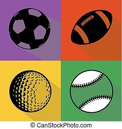 Black sport balls vector set - A vector set of black...