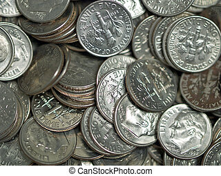 Pile of United States Coins Silver Dimes