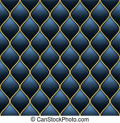 Dark Deep Blue with Gold Quilted Leather Seamless Background. Vector