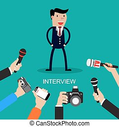 Media conducting a press interview with a businessman...