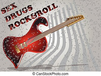 guitar simbol electric guitar with grunge text Heavy metal...