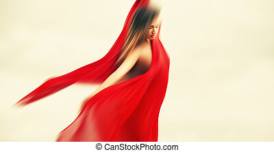 Blurred woman with red fabric - Soft focus image of blurerd...