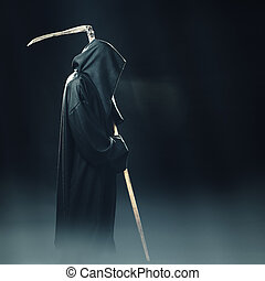 death with scythe standing in fog at night - death with...