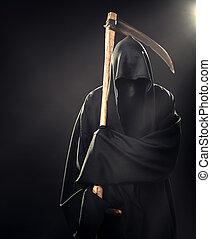 muerte, con, guadaña, posición, en, Niebla,...