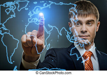 businessman - handsome businessman finger point touch on...