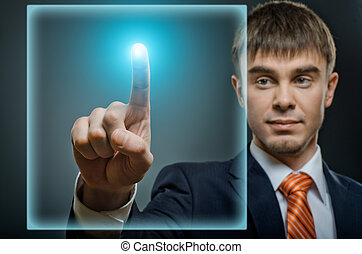 businessman - handsome businessman finger point touch sensor...