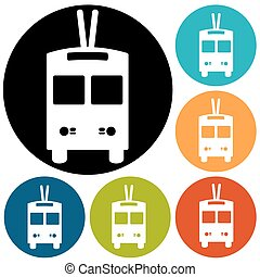 trolleybus sign icon