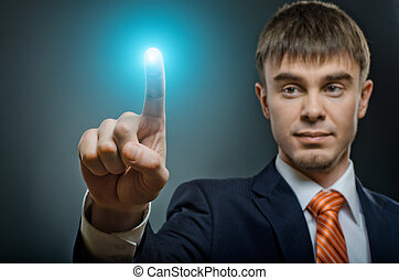 businessman - handsome businessman finger point touch, on...