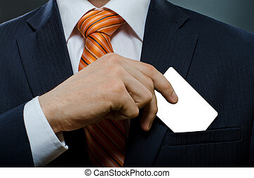 businessman in black costume and orange necktie put or take...