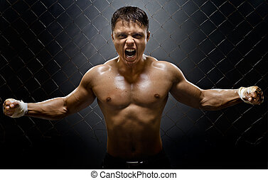 fighter - horizontal photo muscular young guy...