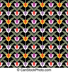 tulips on black seamless back ground