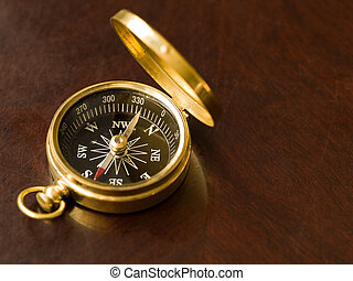 Brass Compass on an old cherrywood table