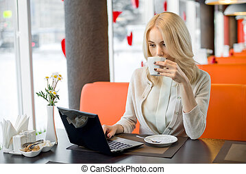 young woman in Cafe - Very beautiful, happy, young...