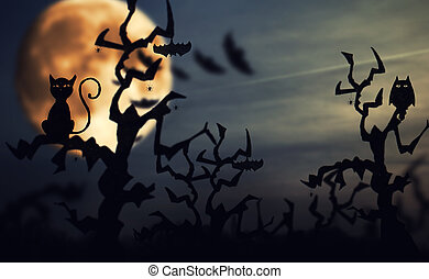 Halloween background - Halloween. night background with...