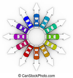 Cars on Arrows - Comparison Shopping - Many colored cars...