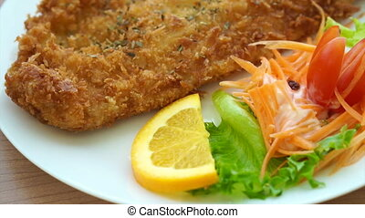 Fried battered Fish and salad - Video of Fried battered Fish...