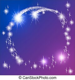 Glowing blue background with sparkle stars