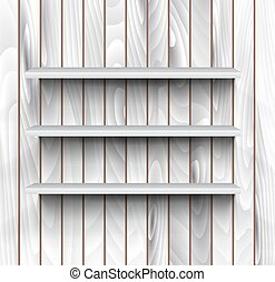 Empty shelves on the wooden wall