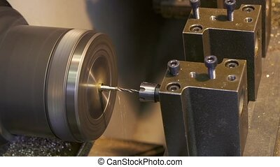 Machining process Drilling close up imelapse - Close up of...