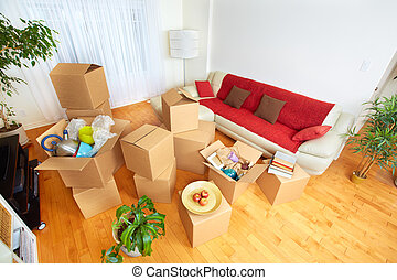 Moving boxes in new house. - Moving boxes in new apartment....
