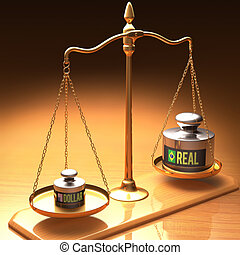 Stronger Dollar x Real - Scales of justice weighing two...
