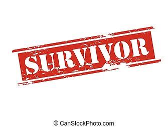 Survivor - Rubber stamp with word suvivor inside, vector...