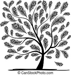 Art tree with peacock feather for your design. Vector...