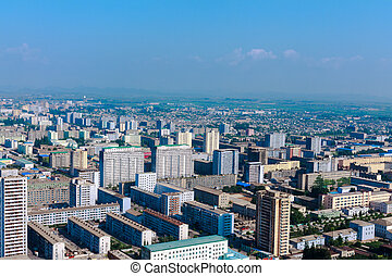 View of the city Pyongyang - Aerial view of the city in...