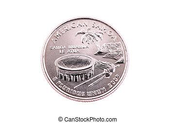 quarto,  Samoa, ci, americano, Code,  2009, moneta