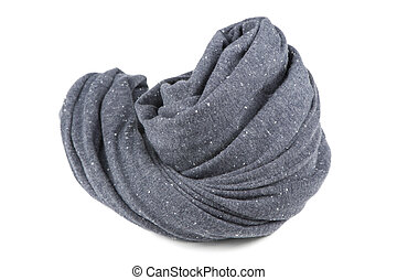 Folded Gray Neck Scarf Isolated on White Background - A...
