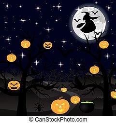 Halloween night seascape