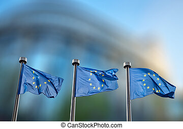 European Union flags against European Parliament - European...