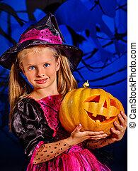 魔女, ハロウィーン, パーティー, 子供