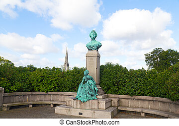 The sculpture in Copenhagen, Europe - Bust and statue of...