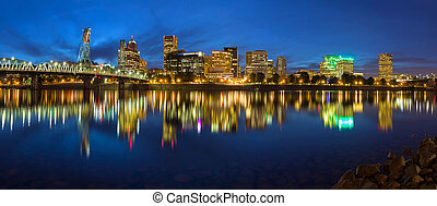 Portland Skyline during Blue Hour Panorama - Portland Oregon...