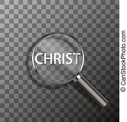 vector word in magnifying glass - vector christ word in...